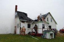 Volunteer firefighters fight a blaze in PEI (Atlantic Canada)